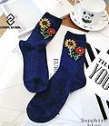 Regal Blue Party Socks! - These handmade navy blue party socks bring the party to you! We have found the perfect festive way to express yourself with these socks.