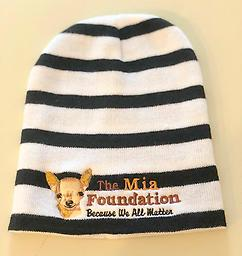 Winter Mia hat Black and white with The Mia Foundation logo. Nice quality hat!