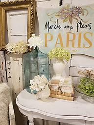 Paris Flower Market Hydrangea Hand Made and painted shape cut sign. Each one is uniquely different