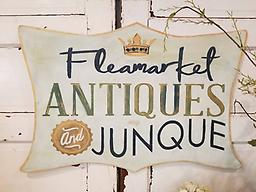 Flea Market, Antique and Junque Vintage style sign in blues and greens 23x 34 on 1/4 inch wood shaped and hand painted sign