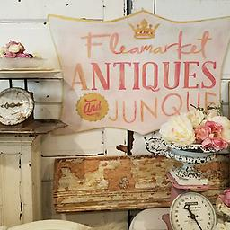Flea Market, Antiques, Junque in Pink Hand Painted vintage style sign 23x34