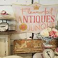 Flea Market, Antiques, Junque in Pink - Hand Painted vintage style sign 23x34