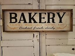 Bakery Sign This hand painted sign is 48 wide x 16 tall Hand painted on a white BKG with black and gold lettering and a walnut wrap