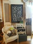 Dreams Don't Work unless you do - This sign is perfect for any home office. Black BKG white lettering and walnut frame 24x36