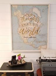 Our Words Create Our World My gypsy heart loves to travel! As you know it also loves vintage, but did you know how powerful your thoughts are? 27x33 This map is a genuine vintage map mounted and framed