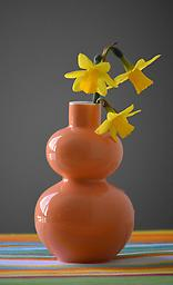 Double Lobed Orange Vase Add a splash of color to your collection with this vase. *