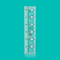 1.5 x 6.5 ruler - This 1-1/2 inch x 6-1/2 inch rectangle ruler features easy-to-read black and white markings printed in 1 inch grids marked in 1/8 inch and 1/4 inch increments.