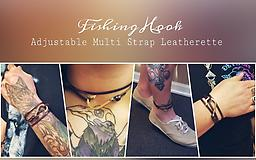 Fishing Hook Leatherette Adjustable Multi Strap Leatherette - Unisex - Versatile as it can be worn as a Bracelet, Choker, Anklet & Wristband! 100% of Proceeds Donated to Royal Family Kids #5945