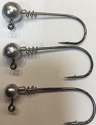 FINESSE SCREWLOCK SWIM BAIT HEADS Finesse ball head screw lock swim bait heads. Sizes available are 1/8, 3/16, 1/4 and 3/8oz. Colors available are Plain, Grey Ghost and Black Frost. Packaged 5 per pack.