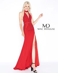 Mac Duggal 62974A Choker V-Neck Gown in Red This dress is sleeveless with a high neckline. Tonal beaded detail streams throughout the bodice creating serious shine. The bodice is fitted.