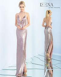 Ieena for Mac Duggal 25751 in Blush Full liquid metallic metal fabric, Beaded neck strap leading to a draped bodice, side slit, and plunging low back.