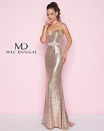 Mac Duggal 77427 Sweetheart Sequin Gown in Champagne Stretch netted sequin. Elegant sweetheart neckline gown is accented with a rhinestone belt at the waist giving way to the fully sequin skirt.