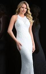 Scala 48786 in Ivory This dress features a high neckline, flattering fitted silhouette, and breathtaking sequins from top to bottom. The back is beaded and has a center zipper.