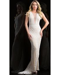Scala 48787 in Champagne This dress features an illusion neckline with a beautiful fitted silhouette. Elaborate beading and sequins cover the dress in a unique pattern. The back is open and features a sweep train.
