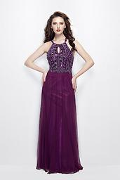 Primavera 3005 in Plum This dress features a high neckline and keyhole cutout. The bodice is decorated in beautiful bead work for a fabulous touch. The a-line fit will have you looking and feeling like a princess.