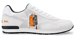 E.O.R.N. Leather and Fabric Gym Shoes White Leather Uppers and Heel with Embroidered E.O.R.N. Logo on outside of shoe. With E.O.R.N., INC. stitched on back of heel. Custom made, and handcrafted in Madrid, Spain.