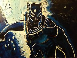 """Black Panther Wakanda King A painting of the great Marvel movie """"Black Panther"""" video is on youtube. A painting to commemorate one of the greatest superhero films of all time."""