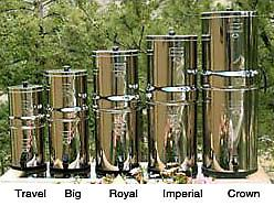 Berkey (Big) Water Purifier 2.25 gallon stainless steel water purifier (second unit from left) with two purification elements - see details. *Not available in California or Iowa.