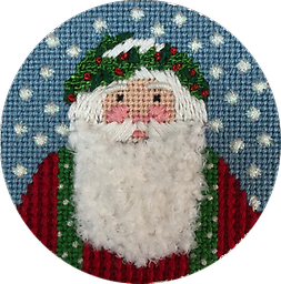 August 2018 Santa Exclusive Diversions Needlepoint hand painted canvas, threads and stitch guide by Mary Lou Kidder. SHIPPING INCLUDED!