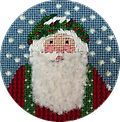 August 2018 Santa - Exclusive Diversions Needlepoint hand painted canvas, threads and stitch guide by Mary Lou Kidder. SHIPPING INCLUDED!