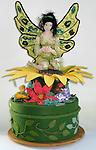 Secret Garden - Flitacy is a lace-wing Butterfly Faery sitting on a large sunflower amid a garden of flowers.