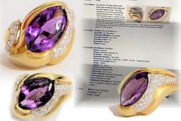 Rare Amethyst Diamond Ring 18k Gold Size 8 Hybrid TCW 8kt Fine Cocktail Ring Diamonds Total Amethyst Karat Weight: 4.94 Average Diamond Clarity: VS1 -VS2 Metal Purity: 18k Country/Region of Manufacture: Italy Main Stone: Amethyst Style: Cocktail Metal: Solid 18k Yellow White