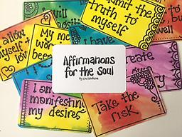 Affirmations for the Soul Cards (Minil) Christalene's mini inspirational cards with fun, positive affirmations and whimsical designs. Created to enhance your ability to connect to your inner wisdom. Packaged in an organza bag.