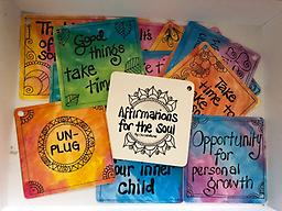 Affirmations for the Soul Cards (Large) Christalene's larger set of inspirational cards with fun, positive affirmations and whimsical designs. Created to enhance your ability to connect to your inner wisdom. Packaged in an organza bag.