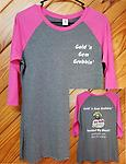 GGG Baseball Tee - Pink & Grey Adult Ladies Baseball Tee