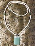 """White Crackled beaded necklace """"Jadeite"""" pendant - Approximate 29 inch loop beaded necklace with Jadeite-colored pendant approximate 1.25 inch by 2 inches long. Holding loop at middle, necklace hangs about 15 inches to pendant. Beautiful & ONLY ONE."""
