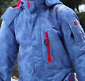 Ducksday Ski Suit (Sky) - One-piece ski suits for kids on the move! Sky SkiSuits are blue with red detailing and coordinate with either red or funky red mittens and other DucKsday gear.