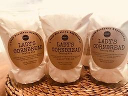 Lady's Cornbread Baking Mix This 11oz bag of Georgia cornmeal will make 1 - 9x9 pan of cornbread or, if doubled, will make 1 - 11x15 pan of cornbread. No worries, Lady's Cornbread recipe is on the back of the bag.