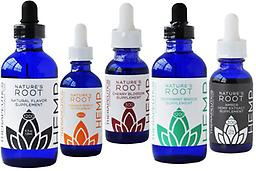 Nature's Root Hemp Oil Tinctures Sampler Pack - 5 drams Non-GMO | Vegan | Cruelty Free | Gluten Free Active Ingredients: Colorado, organically grown, industrial hemp oil concentrate Inactive Ingredients: Organic flavors and Organic Stevia