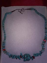 """TURQUOISE NUGGET NECKLACE FOR YOU"" This beautiful southwestern style turquoise nugget necklace is approximately 20 inches long and the large nugget in the center is approximately 1 inch in diameter. A great gift for any man or woman."