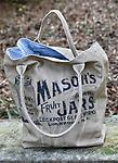 Mason Jar Canvas Bag with Blue Ticking Lining - Versatile canvas market tote with blue cotton ticking lining.