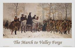 "March to Valley Forge General George Washington sits astride his horse during his march to Valley Forge. 36""w x 24""h includes white border"