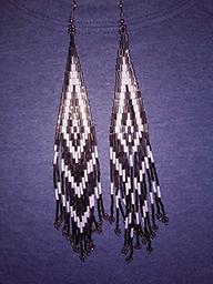 1 PAIR AVAILABLE ~ Southwest Design Earrings This is a beautiful pair of hand crafted Southwest style beaded earrings, black & silver, approximately 1.25 inches wide by 7 inches long.