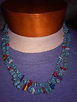 """DOUBLE STRAND TURQUOISE NECKLACE"" - Double strand turquoise nugget & shell necklace is approximately 21 inches long and can be layered with others if desired."
