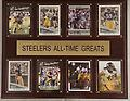 "Steelers All Time Greats - Wood grain plaque showing 8 sealed cards of the Steelers all time greats. Perfect piece to hang on your wall. 15""w x 12""h"