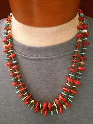 AWESOME CORAL & TURQUOISE NECKLACE This beautiful two-strand deep red coral & turquoise nugget necklace is stunning. It is 24 inches long and would make a great gift for any lady or man. Great for promotional photos, onstage or off.