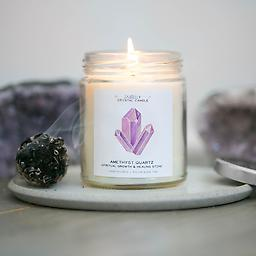 Amethyst Crystal Candle - Spiritual Growth & Healing | 9 oz Amethyst Crystal Candle - Spiritual Growth & Healing | 9 oz