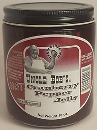 UNCLE BOB'S Cranberry Pepper Jelly 10 oz. Handmade Cranberry Pepper Jelly with just the right blend of cranberries, habaneros, and jalapeno peppers.