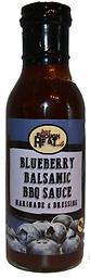 JUST ENOUGH HEAT - Blueberry Balsamic BBQ Sauce 14.5 oz. Fresh blueberries and aged balsamic vinegar are the keystones of this complex and versatile barbecue sauce.