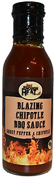 JUST ENOUGH HEAT - Blazing Chipotle BBQ Sauce 14.5 oz Blazing Chipotle Barbecue Sauce is a wicked marriage of rich chipotle & super spicy ghost peppers.