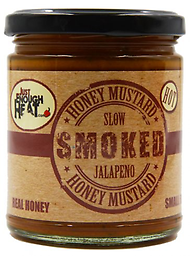JUST ENOUGH HEAT - Slow Smoked Jalapeno Mustard 9.5 oz. Made in very small batches, this artisan honey mustard is spicy, sweet, smokey & tangy.