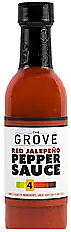 THE GROVE - Red Jalapeno Pepper Hot Sauce 5 oz. A Red Ripened Jalapeño is the same pepper as a green jalapeño that is left on the vine longer to get a fully ripened jalapeño. They are slightly sweeter than the green jalapeño and have a notably hott