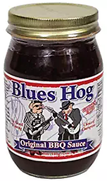 "BLUES HOG - Original BBQ Sauce 16 oz. A thick, gourmet sauce made from all-natural ingredients that ""sticks to your meat"" and has a ""sweet with the right amount of heat"" attitude!"