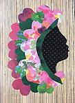 WB004 Card - Greeting cards of Sweetheart Ladies - Images of hand scrappy quilted silhouettes in bold, striking patterns by Willa Brigham (Blank inside)