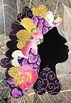 WB020 Card - Greeting cards of Sweetheart Ladies - Images of hand scrappy quilted silhouettes in bold, striking patterns by Willa Brigham (Blank inside)