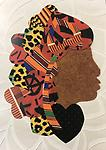 WB023 Card - Greeting cards of Sweetheart Ladies - Images of hand scrappy quilted silhouettes in bold, striking patterns by Willa Brigham (Blank inside)